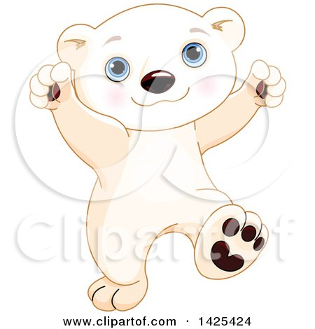 Clipart of a Cute Adorable Baby Polar Bear Cub Dancing - Royalty Free Vector Illustration by Pushkin