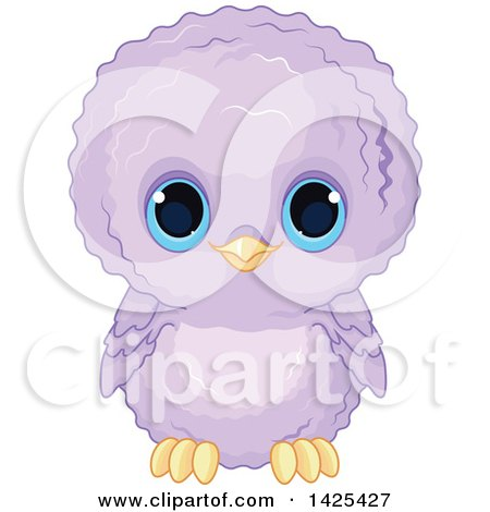 Clipart of a Cute Purple Baby Owl with Big Blue Eyes - Royalty Free Vector Illustration by Pushkin