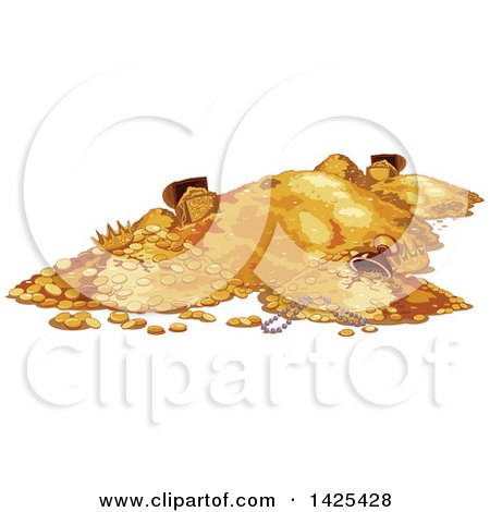 Clipart of a Pile of Gold Coins and Treasure - Royalty Free Vector Illustration by Pushkin
