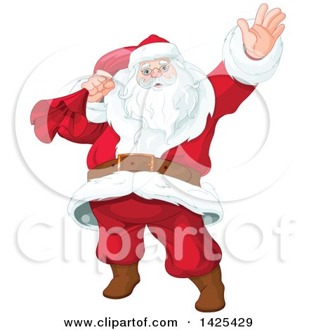 Clipart of a Jolly Santa Clause Slinging a Sack over His Shoulder and Waving - Royalty Free Vector Illustration by Pushkin