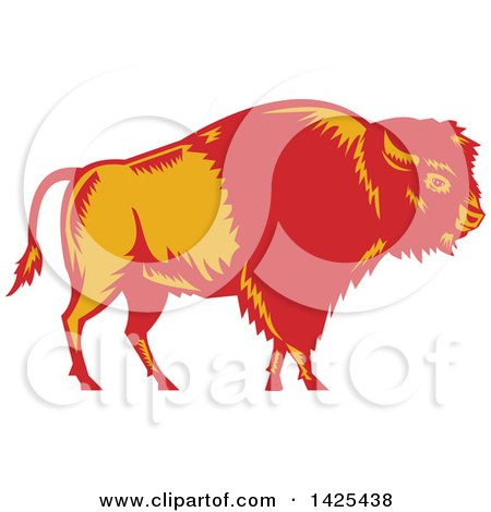 Clipart Of A Retro Woodcut Red And Yellow American Buffalo Bison Royalty Free Vector Illustration
