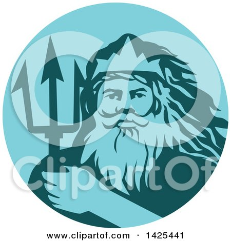 Clipart of a Retro Man, Triton Mythological God, Holding a Trident in a Blue and Teal Circle - Royalty Free Vector Illustration by patrimonio