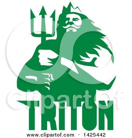 Clipart of a Retro Man, Triton Mythological God, Holding a Trident, in Green and White over Text - Royalty Free Vector Illustration by patrimonio