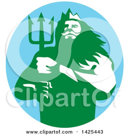 Clipart of a Retro Man, Triton Mythological God, Holding a Trident in a Blue Green and White Circle - Royalty Free Vector Illustration by patrimonio