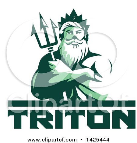 Clipart of a Retro Green Toned Man, Triton Mythological God, Holding a Trident in Folded Arms, over Text - Royalty Free Vector Illustration by patrimonio