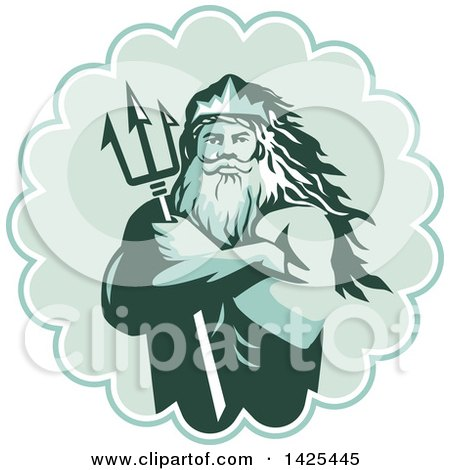 Clipart of a Retro Man, Triton Mythological God, Holding a Trident in Folded Arms Inside a Rosette - Royalty Free Vector Illustration by patrimonio