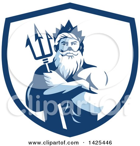 Clipart of a Retro Man, Triton Mythological God, Holding a Trident in Folded Arms Inside a White and Blue Shield - Royalty Free Vector Illustration by patrimonio