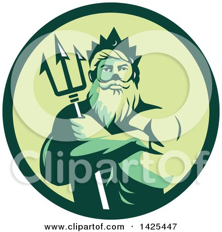 Clipart of a Retro Man, Triton Mythological God, Holding a Trident in Folded Arms Inside a Green Circle - Royalty Free Vector Illustration by patrimonio