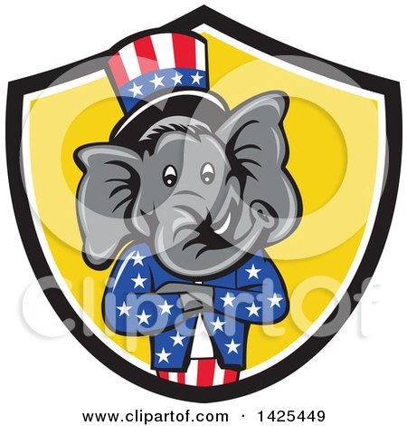 Clipart of a Cartoon Republican Elephant Wearing a Top Hat, with Folded Arms in a Black White and Yellow Shield - Royalty Free Vector Illustration by patrimonio