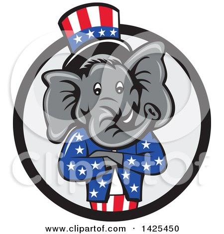 Clipart of a Cartoon Republican Elephant Wearing a Top Hat, with Folded Arms in a Black and Gray Circle - Royalty Free Vector Illustration by patrimonio