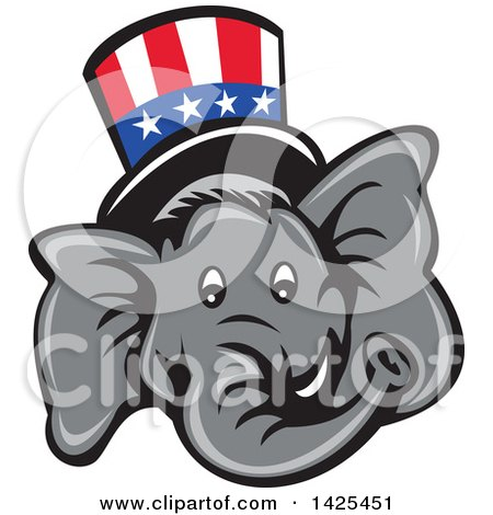 Clipart of a Cartoon Republican Elephant Face Wearing a Top Hat - Royalty Free Vector Illustration by patrimonio