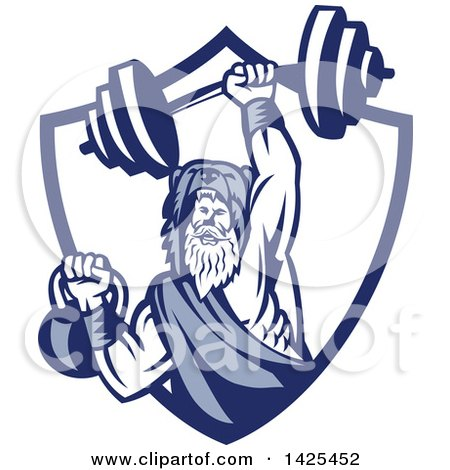 Clipart of a Retro Male Champion Norse Warrior, Berserker, Wearing a Pelt of Bear Skin, Lifting a Barbell and Kettlebell, Emerging from a Shield - Royalty Free Vector Illustration by patrimonio