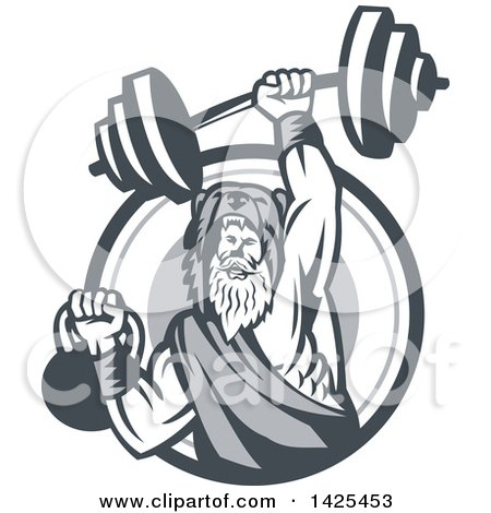 Clipart of a Retro Male Champion Norse Warrior, Berserker, Wearing a Pelt of Bear Skin, Lifting a Barbell and Kettlebell, Emerging from a Circle - Royalty Free Vector Illustration by patrimonio