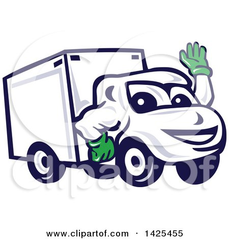 Clipart of a Cartoon Happy Delivery Van Mascot Waving - Royalty Free Vector Illustration by patrimonio