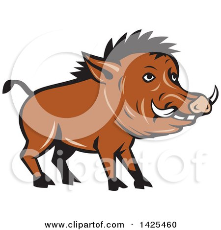 Clipart of a Cartoon Razorback Boar Pig - Royalty Free Vector Illustration by patrimonio