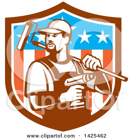 Retro Handyman Holding a Paint Roller over His Shoulder and a Cordless Drill in Hand, Emerging from an American Themed Shield Posters, Art Prints