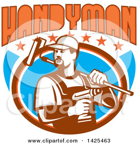 Retro Handyman Holding a Paint Roller over His Shoulder and a Cordless Drill in Hand, Emerging from an Oval with Stars Under Text Posters, Art Prints