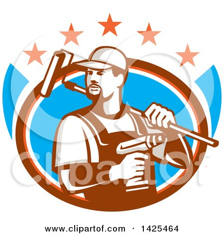 Clipart of a Retro Handyman Holding a Paint Roller over His Shoulder and a Cordless Drill in Hand, Emerging from an Oval with Stars - Royalty Free Vector Illustration by patrimonio