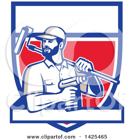 Retro Handyman Holding a Paint Roller over His Shoulder and a Cordless Drill in Hand, Emerging from a Shield with a Blank Banner Posters, Art Prints