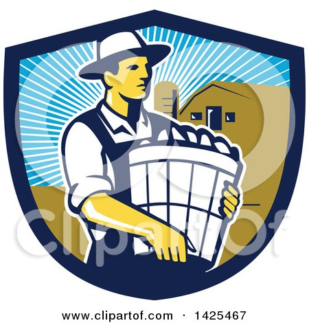 Clipart of a Retro Male Organic Farmer Carrying a Bushel of Harvest Produce, in a Shield Against a Barn and Silo - Royalty Free Vector Illustration by patrimonio