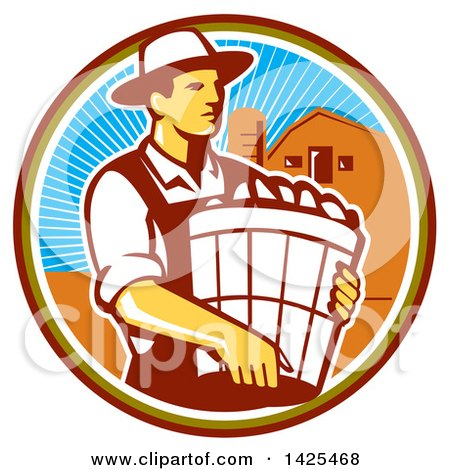 Clipart of a Retro Male Organic Farmer Carrying a Bushel of Harvest Produce, in a Circle Against a Barn and Silo - Royalty Free Vector Illustration by patrimonio