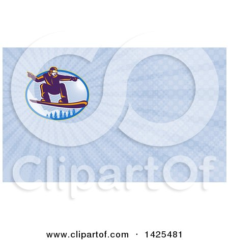 Clipart of a Retro Snowboarder Catching Air over Alpine Trees and Sunshine and Rays Background or Business Card Design - Royalty Free Illustration by patrimonio