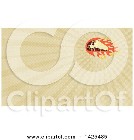 Clipart of a Retro Big Rig Truck and Flames and Rays Background or Business Card Design - Royalty Free Illustration by patrimonio
