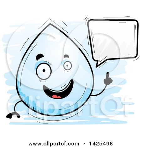 Clipart of a Cartoon Doodled Talking Water Drop Character - Royalty Free Vector Illustration by Cory Thoman