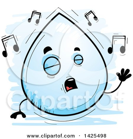 Clipart of a Cartoon Doodled Singing Water Drop Character - Royalty Free Vector Illustration by Cory Thoman