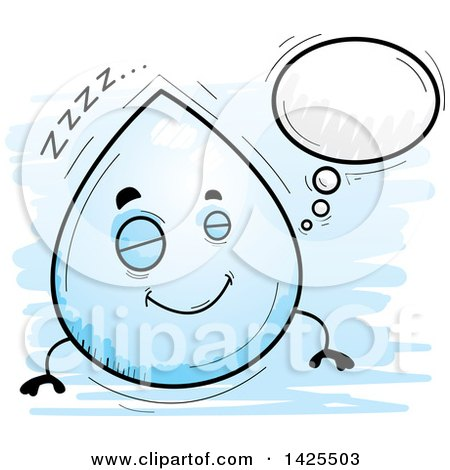 Clipart of a Cartoon Doodled Dreaming Water Drop Character - Royalty Free Vector Illustration by Cory Thoman