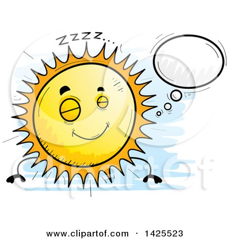 Clipart of a Cartoon Doodled Dreaming Sun Character - Royalty Free Vector Illustration by Cory Thoman