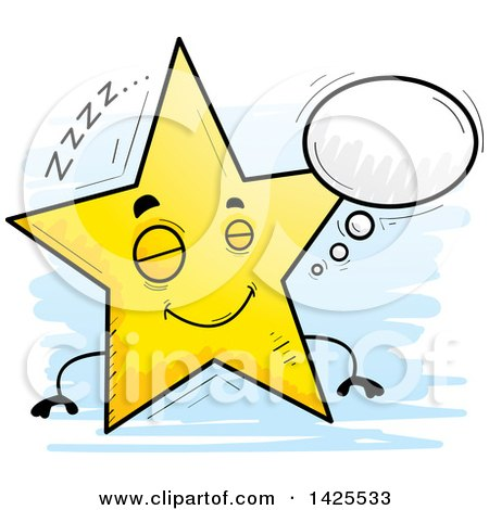 Clipart of a Cartoon Doodled Dreaming Star Character - Royalty Free Vector Illustration by Cory Thoman