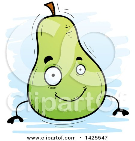 Clipart of a Cartoon Doodled Pear Character - Royalty Free Vector Illustration by Cory Thoman