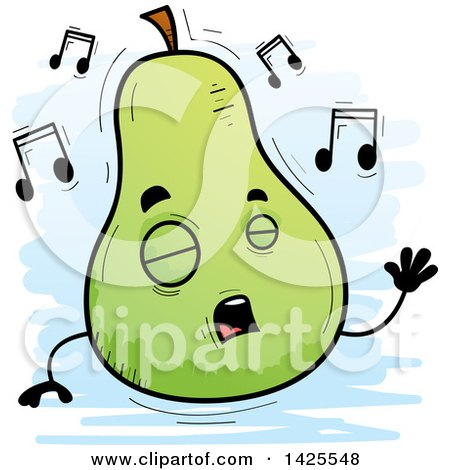 Clipart of a Cartoon Doodled Singing Pear Character - Royalty Free Vector Illustration by Cory Thoman