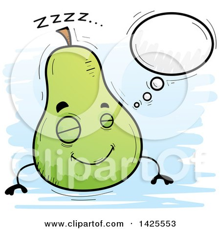 Clipart of a Cartoon Doodled Dreaming Pear Character - Royalty Free Vector Illustration by Cory Thoman