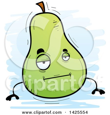 Clipart of a Cartoon Doodled Bored Pear Character - Royalty Free Vector Illustration by Cory Thoman