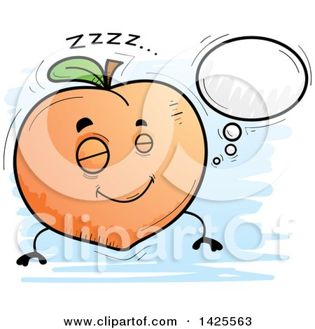 Clipart of a Cartoon Doodled Dreaming Peach Character - Royalty Free Vector Illustration by Cory Thoman