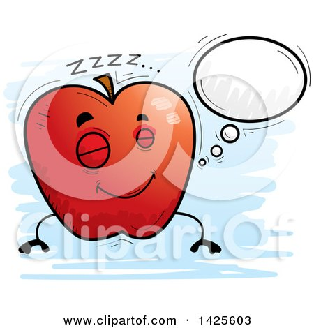 Clipart of a Cartoon Doodled Dreaming Apple Character - Royalty Free Vector Illustration by Cory Thoman