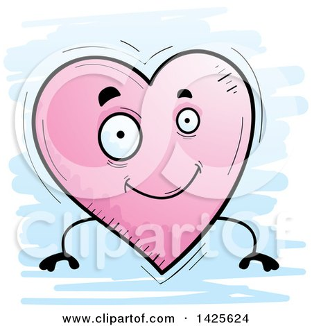 Clipart of a Cartoon Doodled Heart Character - Royalty Free Vector Illustration by Cory Thoman