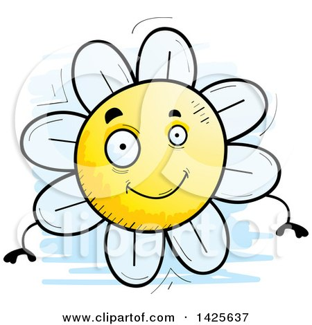 Clipart of a Cartoon Doodled Flower Character - Royalty Free Vector Illustration by Cory Thoman