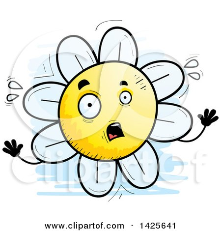 Clipart of a Cartoon Doodled Scared Flower Character - Royalty Free Vector Illustration by Cory Thoman