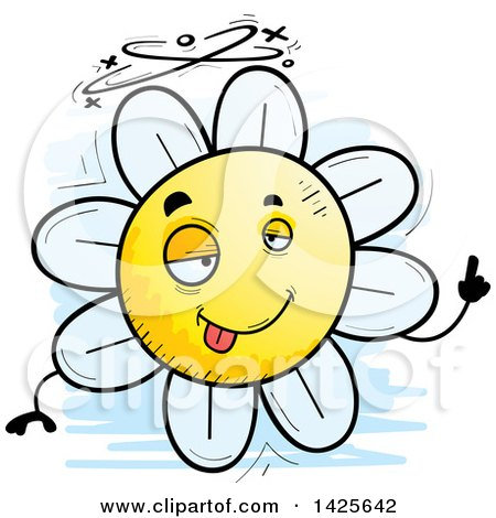 Clipart of a Cartoon Doodled Drunk Flower Character - Royalty Free Vector Illustration by Cory Thoman