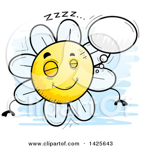 Clipart of a Cartoon Doodled Dreaming Flower Character - Royalty Free Vector Illustration by Cory Thoman
