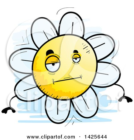 Clipart of a Cartoon Doodled Bored Flower Character - Royalty Free Vector Illustration by Cory Thoman