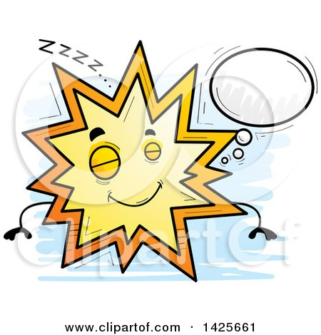 Clipart of a Cartoon Doodled Dreaming Explosion Character - Royalty Free Vector Illustration by Cory Thoman