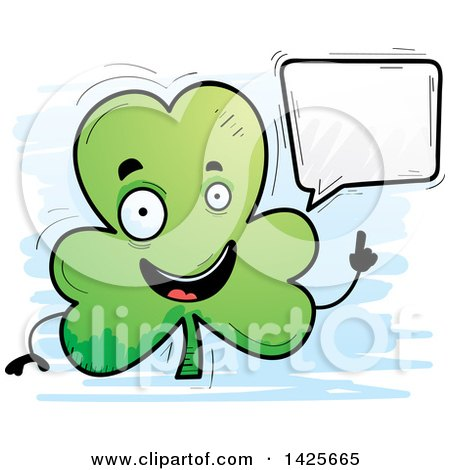 Clipart of a Cartoon Doodled Talking Shamrock Clover Character - Royalty Free Vector Illustration by Cory Thoman