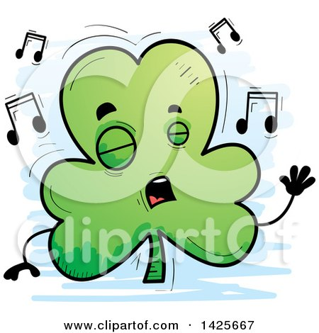 Clipart of a Cartoon Doodled Singing Shamrock Clover Character - Royalty Free Vector Illustration by Cory Thoman
