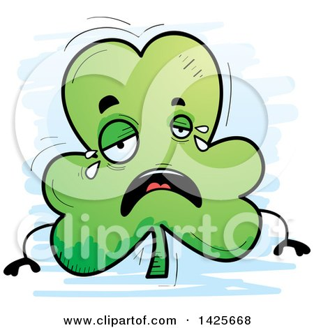 Clipart of a Cartoon Doodled Crying Shamrock Clover Character - Royalty Free Vector Illustration by Cory Thoman