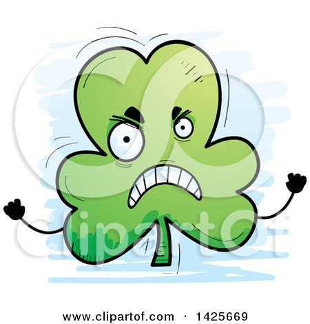 Clipart of a Cartoon Doodled Mad Shamrock Clover Character - Royalty Free Vector Illustration by Cory Thoman