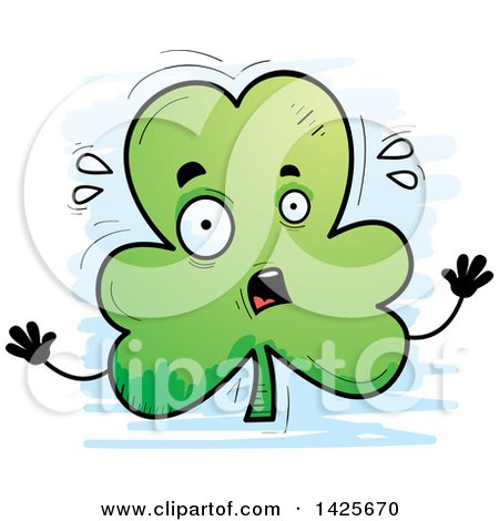 Clipart of a Cartoon Doodled Scared Shamrock Clover Character - Royalty Free Vector Illustration by Cory Thoman